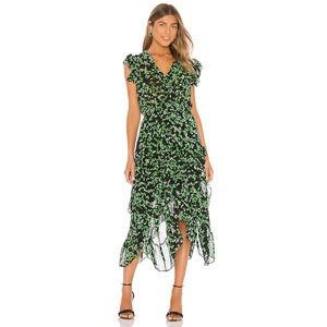 MISA Los Angeles Dakota Midi Dress Green Blooms M